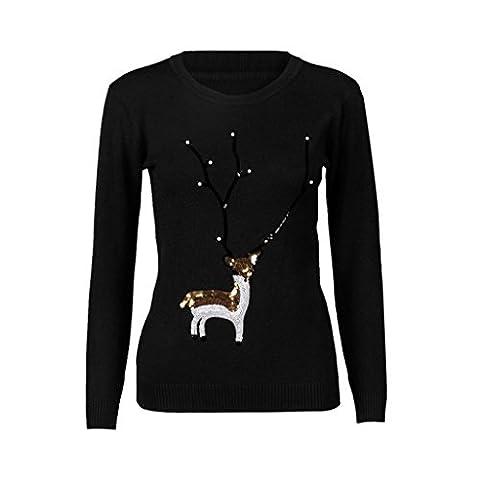 Damen Pullover, Frashing Damen Casual Christmas Deer Pearl Sequins Langarm Pullover Bluse (Schwarz)