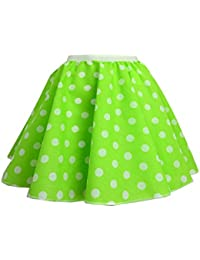 """Childrens Polka Dot Skirt Rock n Roll 50's/ 60's Style 16 different colours 12"""" length (6-9 (waist 11 inch), Green and white spot)"""