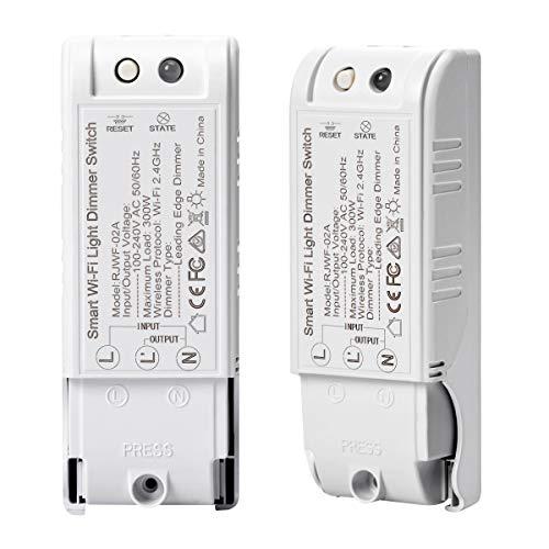 2 Pack WIFI Dimmschalter, FORNORM Smart Lichtschalter Dimmbar 2000W Kompatibel mit Amazon Echo/Alexa und Google Home, APP Fernbedienung/Timer/Countdown/Speicherfunktion, 2,4 GHz für Android iOS