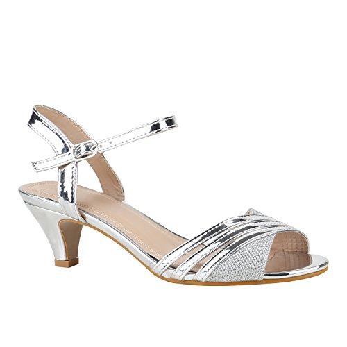 Stiefelparadies Damen Schuhe Lack Sandaletten T-Strap Metallic Riemchensandaletten 155918 Silber Lack 39 Flandell