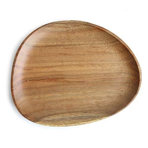 CJUERLS Geschirr Oval Durable Multi Purpose Tray Dessert Geschirr Home Fruit Pan Unregelmäßiges Abendessen Untertasse Platte Massivholz -