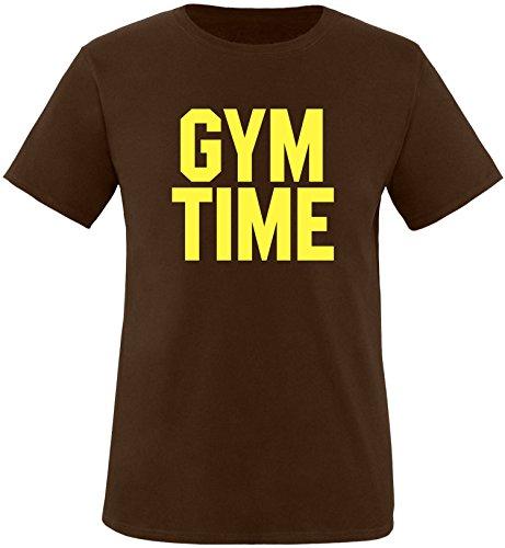 EZYshirt® Gym Time Herren Rundhals T-Shirt Braun/Gelb