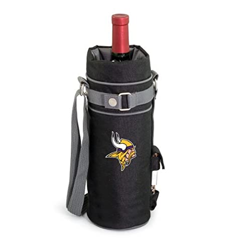 NFL Minnesota Vikings Insulated Single Bottle Wine Sack with Corkscrew by Picnic Time