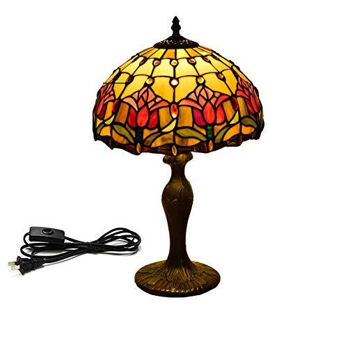 XHJZ-H 12 Zoll Tiffany-Art-Tischlampe, Buntglas-Tulpe-antike Tischlampen-kreative Hotel-Nachttischlampe