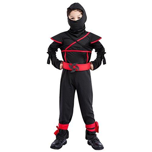 Kinder Schwarz Ninja Kostüm Strampler - Jungen Halloween -