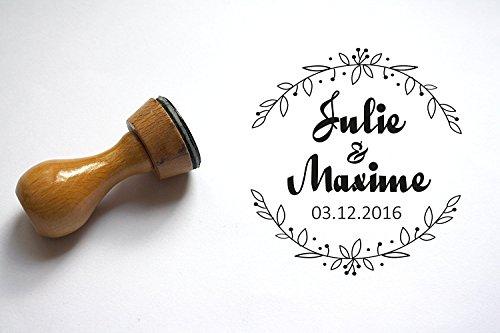 Timbro matrimonio personalizzabile, forma rotonda floreale, con nomi e data