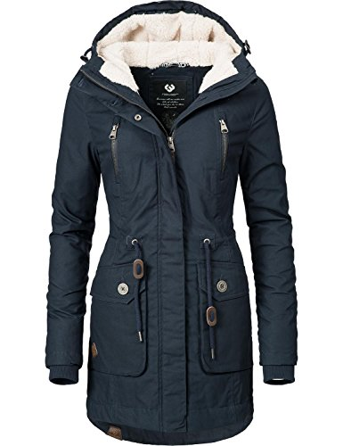 Ragwear Damen Mantel Wintermantel Winterparka YM-Elsa Teddy Navy Gr. M