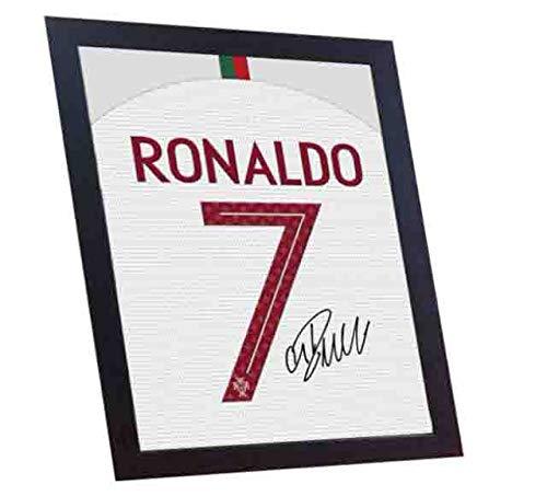 SGH SERVICES New Cristiano Ronaldo Portugal Team T-Shirt mit Autogramm, gerahmt, 100% Baumwolle -