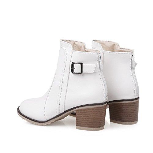 VogueZone009 Damen Blend-Materialien Schließen Zehe Stiefel Weiß-Rücken Reißverschluss