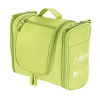 Toiletry Bag Wash Bag Cosmetic Make Up Bag Organizer Storage Bag Solid Color Portable Travel Hanging Luggage Zipper Polyester Oxford with Hook Foldable Large Capacity Multifunction (Green)