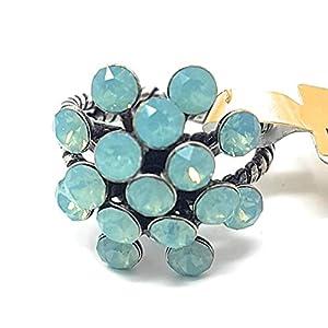 KONPLOTT Magic Fireball Damen-Ring, Ringgröße verstellbar, Glas türkis -5450543461359