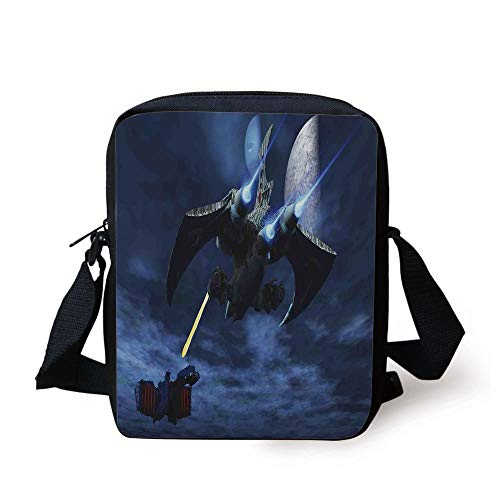 Galaxy,A Lighter and Spaceship Blasts a Laser Beam an Enemy Battleship Galaxy Wars Pattern,Blue Black Print Kids Crossbody Messenger Bag Purse -