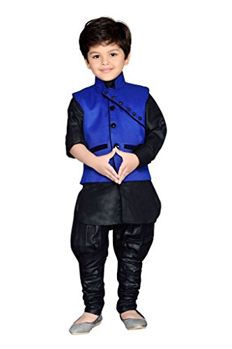 AJ Dezines Kids Kurta Pyjama Waistcoat Set for Boys (640_BLUE_4)