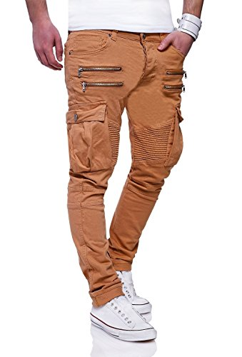 MT Styles Zipper style Biker Jeans Slim Fit pantalon homme RJ-3196 Beige