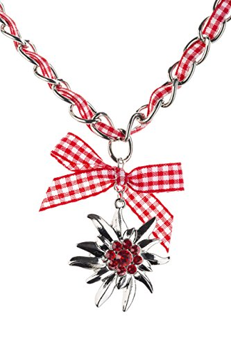 Trachtenkette Edelweiss mit Satinband Schleife und eleganten Gliedern Halskette für Dirndl und Lederhose (Rot/Weiss)