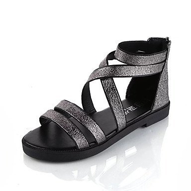 LvYuan Damen-Sandalen-Kleid Lässig-PU-Flacher Absatz-Komfort-Schwarz Rot Silber Black
