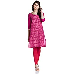 Myx Women's Cotton Straight Kurta (GFT-033_Pink_S)