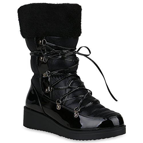 Stiefelparadies Warm Gefütterte Snowboots Glitzer Stiefel Wedges Kunstfell Schuhe 147875 Schwarz Berkley 41 Flandell