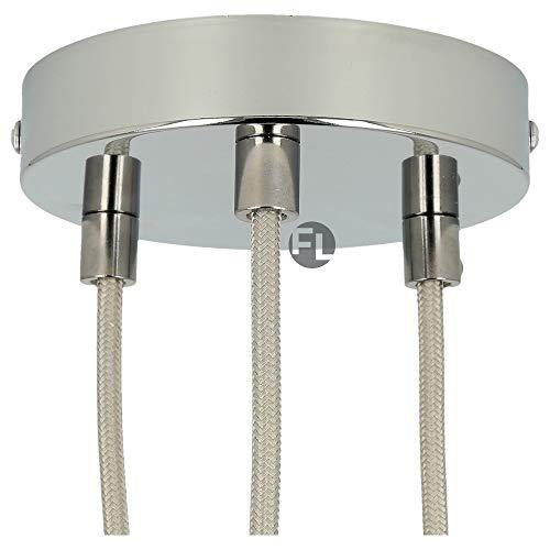 Flairlux Baldachin 3-fach chrom zur Montage von Pendelleuchten | Lampenbaldachin für alle Lampen geeignet | zur Lampenaufhängung an der Decke | Deckenrosette 120x25 mm inkl Metall Klemmnippel