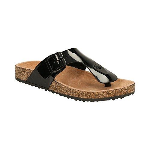 Damen Riemchen Sandalen Zehentrenner Sandaletten Lack Schlappen Pantoletten Schwarz EU 38