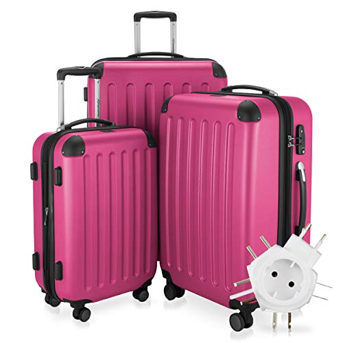 Hauptstadtkoffer - Spree - 3er-Koffer-Set Trolley-Set Rollkoffer Reisekoffer-Set Erweiterbar, TSA, 4 Rollen, (S, M & L), Magenta +Universal Reiseadapter