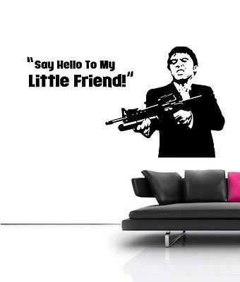 LARGE Scarface Tony Montana Film Mural Wall Art Free Squeegee Vinyl Decal by Boultons Graphics (Custom Made Decals)