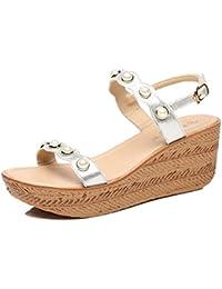 e61c8bcb28a HY Verano nueva pendiente con sandalias perlas Retro plataforma impermeable  zapatos de tacón grueso palabra inferior