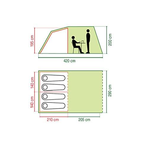 Coleman 205116 Tunnelzelt 4 Personen inkl. Wohnbereich, grau (4,15 x 2,9 x 2,0 m) -