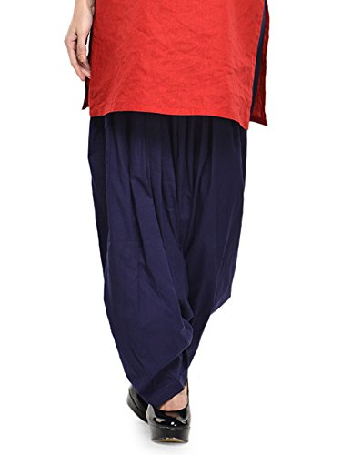Stylenmart Women Cotton Solid Full Patiala Salwar (Stmapa078630 _Blue _Free Size)