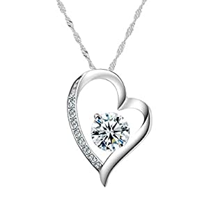 Chaomingzhen 925 Sterling Silver Rhodium Plated Cubic Zirconia Heart Shaped Pendant Necklace for Women Chain 18""