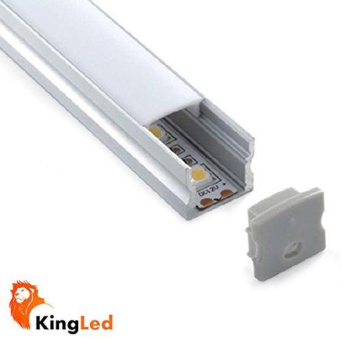 Perfil de aluminio 1715 1m para tiras Led con tapa blanca