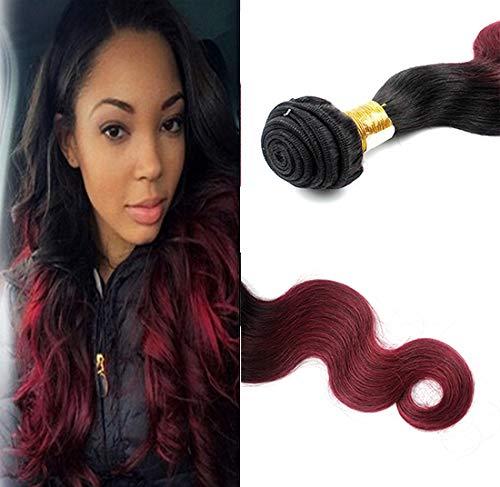 Romantic Angels Tissage Bresiliens Extensions Cheveux Body Wave 1 Bundle 100g 40cm Couleur#1b/bordeaux
