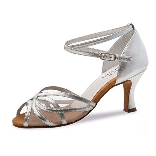 Anna Kern - Damen Tanzschuhe 740-60 - Leder Silber - 6 cm Silber
