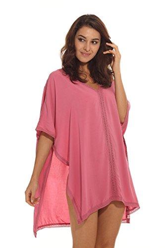 HIMONE Damen Solide übergroß Strandponcho Sommer Kleid Bikini Cover Up Rosa