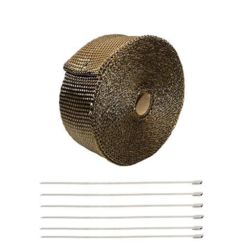 Vosarea Auspuffband für Hohe Temperaturen mit 6 Kabelbindern aus Edelstahl für Motorrad im Auto