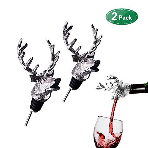 Wein Belüfter Ausgießer, Deer Form Wein Verschnaufpause Dekanter Wiederverwendbare Dekanterdüse Made fit Alle Rot- und Weißweinflaschen 2PCS (Alkohol Halloween-party-spiele Mit)