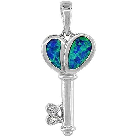 Ciondolo a forma di chiave, in argento Sterling, a forma di cuore, con opale e intarsiata Lab (16 40,64 cm/15, 24 mm di altezza