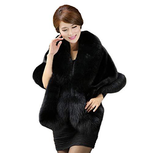 Jstdoit cappotto da donna con sciarpe in colletto in pelliccia sintetica di lusso, scaldacollo elegante in soffice sciarpa per scaldacollo invernale