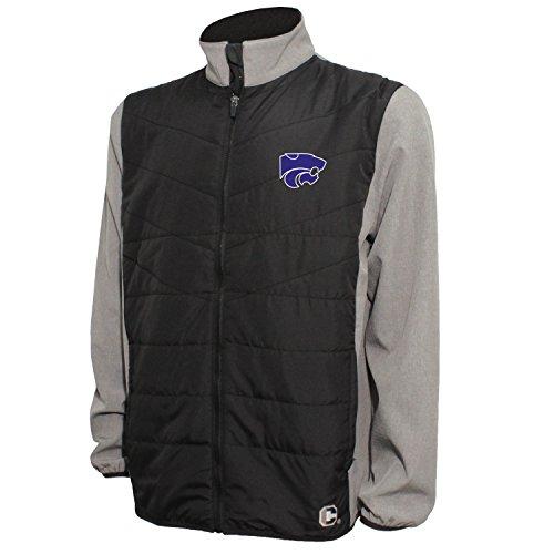 Crable NCAA Herren Gesteppte Vorderseite Panel Bonded Jacke, Herren, Quilted Front Panel Bonded Jacket, Black/Gray Heather, XX-Large Quilted Zip-front-jacke