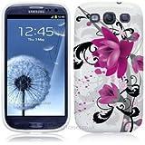 Etui de créateur pour Samsung Galaxy S3 i9300 - Etui / Coque / Housse de protection blanc en TPU/gel/silicone avec motif fleurs violettes
