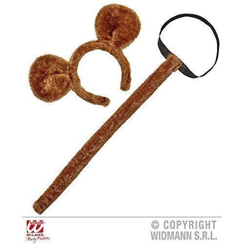 Monkey Tail Kostüm - Lively Moments plüschiges Affenset / Bärenset zweiteilig ( Affenschwanz und Affenohren ) in braun / Affenkostüm Zubehör
