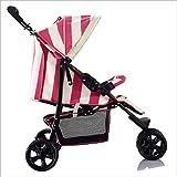 QZX Kinderwagen mit DREI Rädern von der Geburt bis zum 22-kg-5-Punkt-Sicherheitssystem, unabhängige Sitze, leichte Falte,Pink