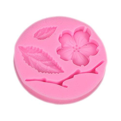 CAOLATOR Blumen Silikonform Fondant Form 3D Pfirsichblüte und Blatt Silikon Backform Marzipan Tortendeko Ausstecher Seife Dekoration Werkzeug für Fondant Kuchen Dekoration