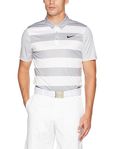 Nike Herren Breathe Bold Stripe Polo-Shirt Golf Shirt, Grau (Wolf Grey/Black) , S (Stripe Nike Polo)