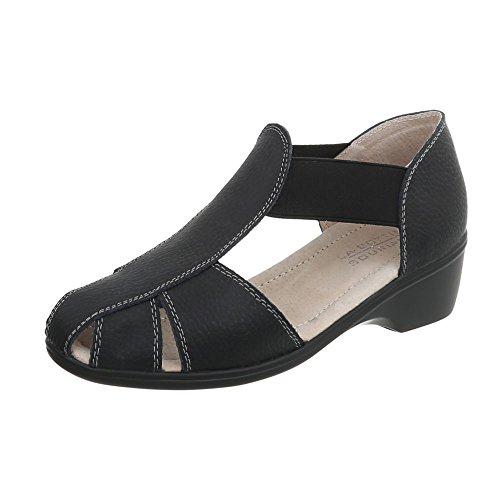 Ital-Design Riemchensandalen Leder Damen-Schuhe Pump Sandalen & Sandaletten Schwarz, Gr 38, Lbs009- (Schuhe Pump Strap)