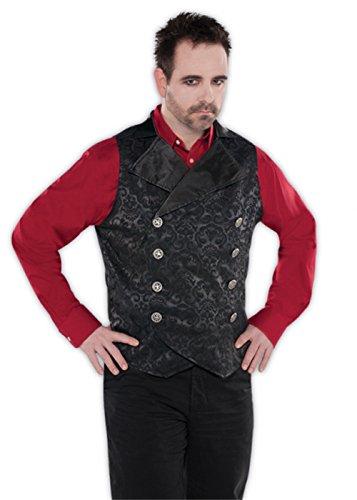 """Hombres góticos vampiro negro chaleco chaleco M/L (chest 40-42"""")"""