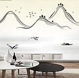 Salon moderne classique chinois TV fond mur antique papier peint encre de montagne papier peint non tissé personnalisé 350 cm * 245...