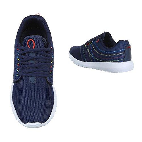 Ital-Design Low-Top Sneaker Damenschuhe Low-Top Sneakers Schnürsenkel Freizeitschuhe Blau S38005