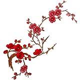 1pcs Apliques De Encaje Ciruelo Del Bordado Flor / Parche Motivos DIY Decoraciones - Color rojo oscuro, 37cm * 14cm