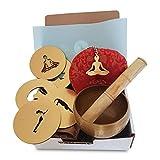 Set regalo per lo yoga, consegna prima di Natale, set di 5 sottobicchieri con posizioni dello yoga, campana tibetana e portachiavi, regalo ideale per gli insegnanti di yoga